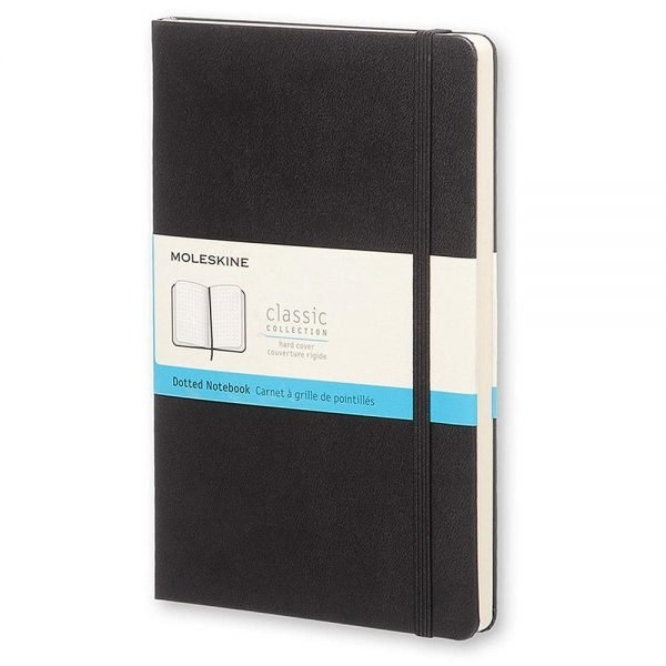 large moleskine hardcover dotted notebook