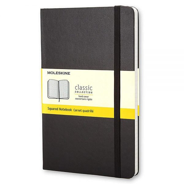 large moleskine hardcover squared notebook